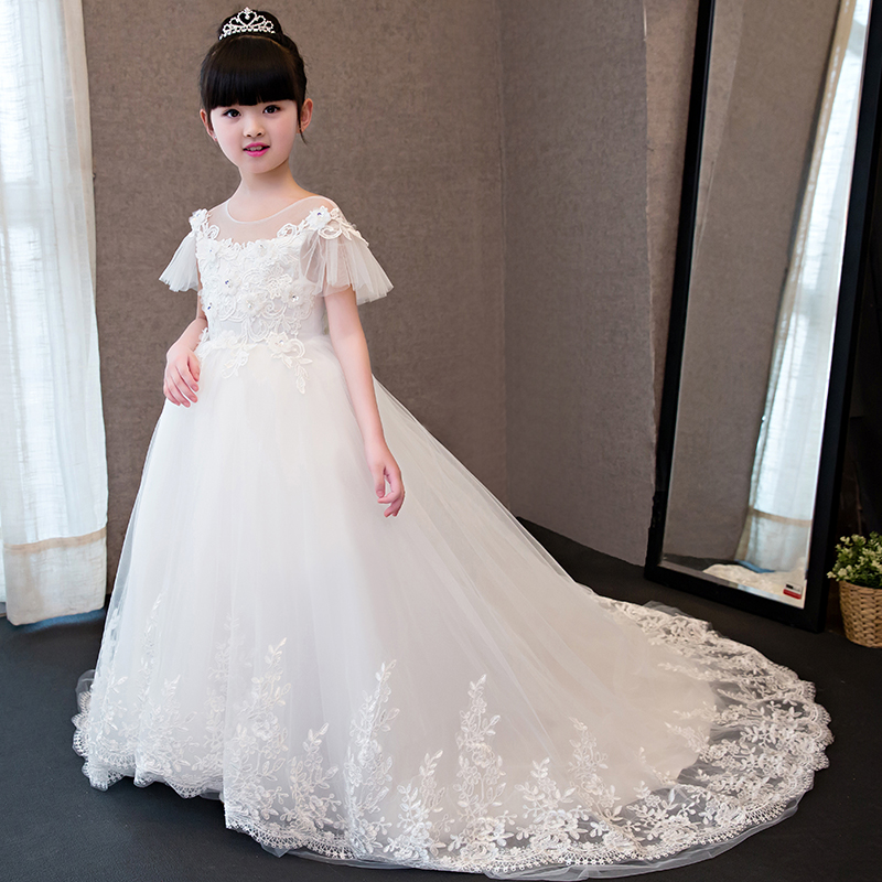 Lace Flower Girl Dresses with Long Tailing Petal Sleeve Ball Gown Kids Girl Pageant Dress for Wedding Birthday Party dress QX295 цена 2017