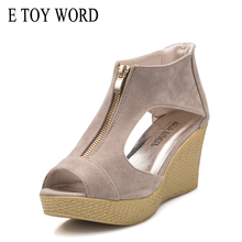 E TOY WORD platform Sandals Summer Shoes Woman Peep Toe Wedge High Heel Sandals Gladiator Women Sandals zapatos mujer deification high platform slip on high heels rivet studded denim gladiator sandals women peep toe wedge heel canvas shoes zapato