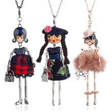 цена на Lovely Fur Plaid Dress Dancing Girls Pendant Necklace Long Hair Doll Statement Long Chain Necklace For Women Maxi Jewelry Bijoux