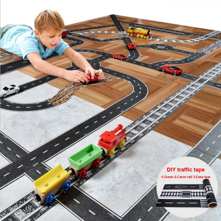 5cm*5m Railway Road Track Scene Tape Wide Creative Traffic Road Adhesive Masking Paper Tape DIY Design Sticker Kids Toy Car Play