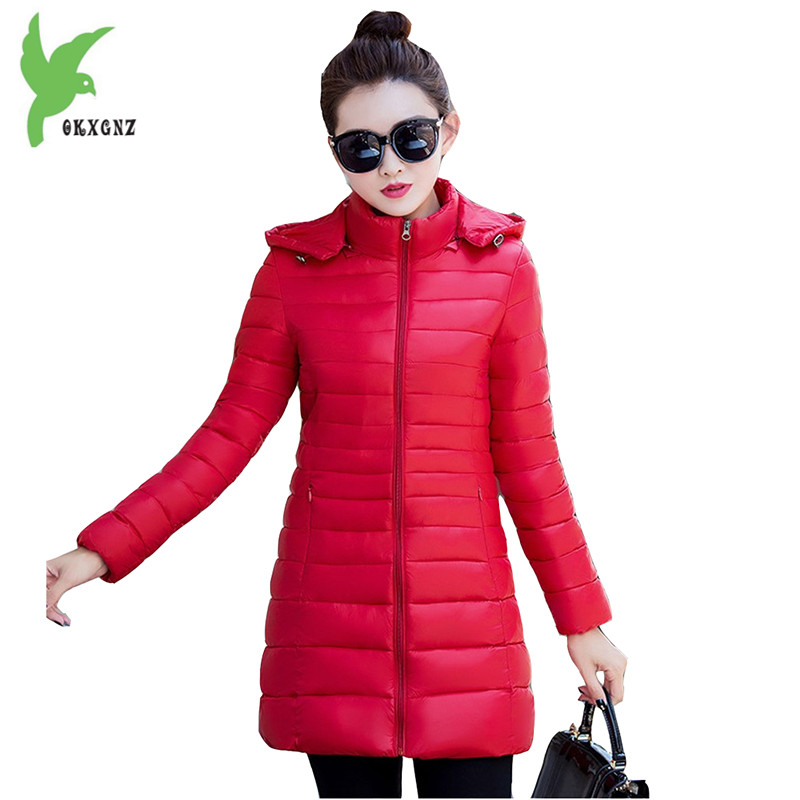 New Fashion Women Winter Down Cotton Jackets Solid Color Hooded Light Thin Warm Casual Tops Plus Size Elegant Coats OKXGNZ A821 2017 winter new cotton coat women slim long hooded thick jacket female fashion warm big fur collar solid hem bifurcation parkas