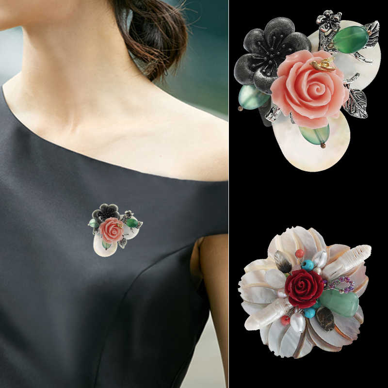 TDQUEEN Shell Women Brooches Jewelry Hand Made Flower Pins For Clothes Natural Stone Pearl Vintage Large Wedding Party Broches