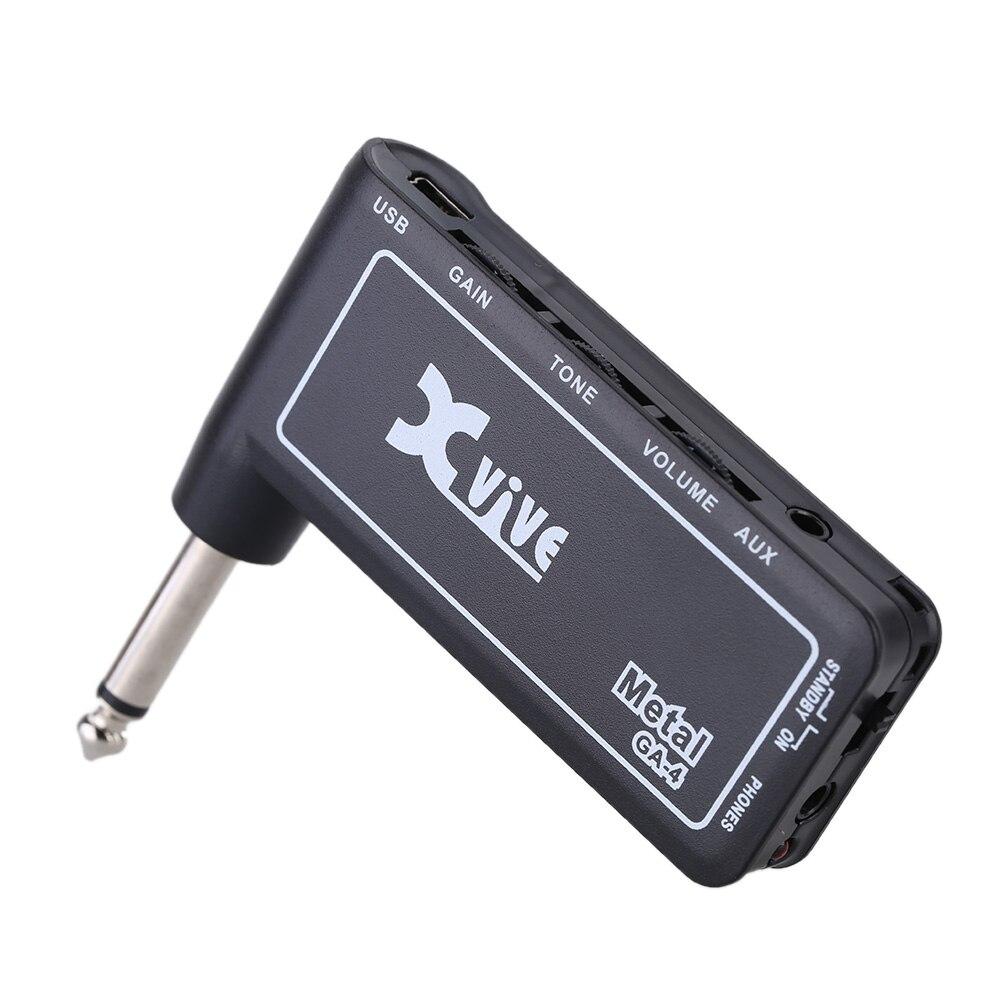 xvive ga4 metal mini portable rechargeable electric guitar plug headphone amp amplifier in. Black Bedroom Furniture Sets. Home Design Ideas