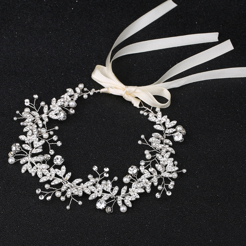 New 2018 Bride Headband Rhinestone Faux Pearl Jewelry Women Wedding Hair Band Handmade Decor sweet rhinestone and faux pearl embellished floral double layered bracelet for women