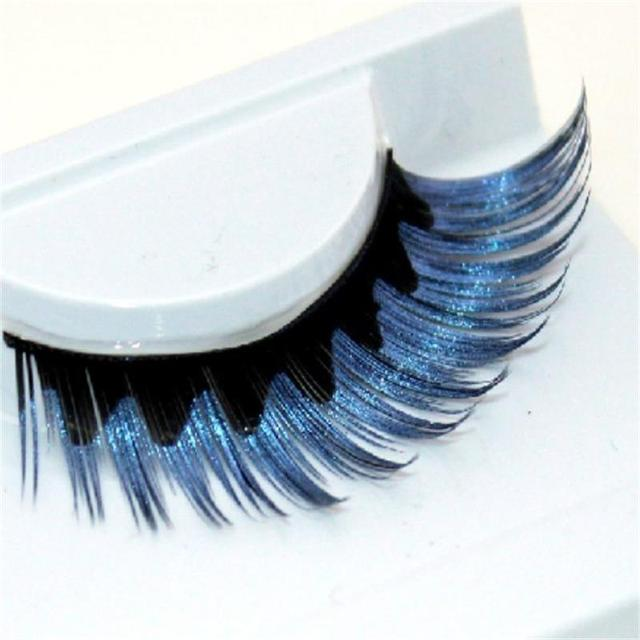 1 pairs colorful blue black staining natural false eyelashes cross exaggerated stage false eye Lashes makeup tool R011