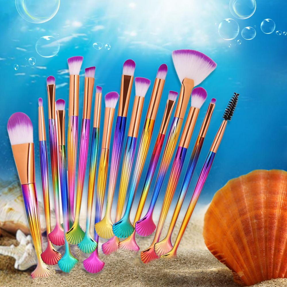 Gradient Makeup Brushes Set Eye Shadow Power Foundation Cosmetics Beauty Tools Kit Concealer Lip Fan Shell Eyes Brush Maquiagem professional 10pcs set orange color makeup stick makeup brush set foundation fan brush eye shadow brush beauty tools