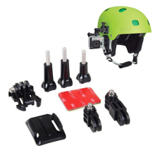Helmet Side Mount Kits 3 Way Adjustable Pivot Arms + Flat Base + Curved Mount + 3M Adhesive for Go pro Gopro Hero 4 3+ 3 2 SJCAM