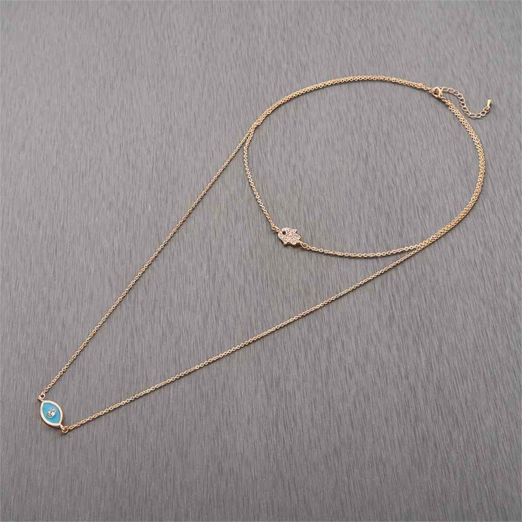 Cxwind многослойные ожерелья Бохо Хамса Кристалл турецкий глаз кулон ожерелье Африка для женщин 2019 колье массивные ювелирные изделия