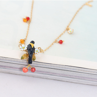 New Pattern Enamel Glaze Oriole Bird Birdie Cherry Many Fall Necklace Clavicle Chain Woman