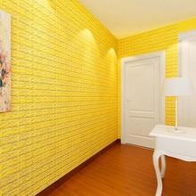 ISHOWTIENDA 60 X 60 X 0.8cm PE Foam 3D Wallpaper DIY Wall Stickers Wall Decor Embossed Brick Stone For Living Room Dropshipping