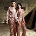 XIFENNI Casual Couple Pajamas Top Quality Imitation Silk Embroidery Women Pyjama Sets Long-Sleeved Male Sleepwear Free Shipping