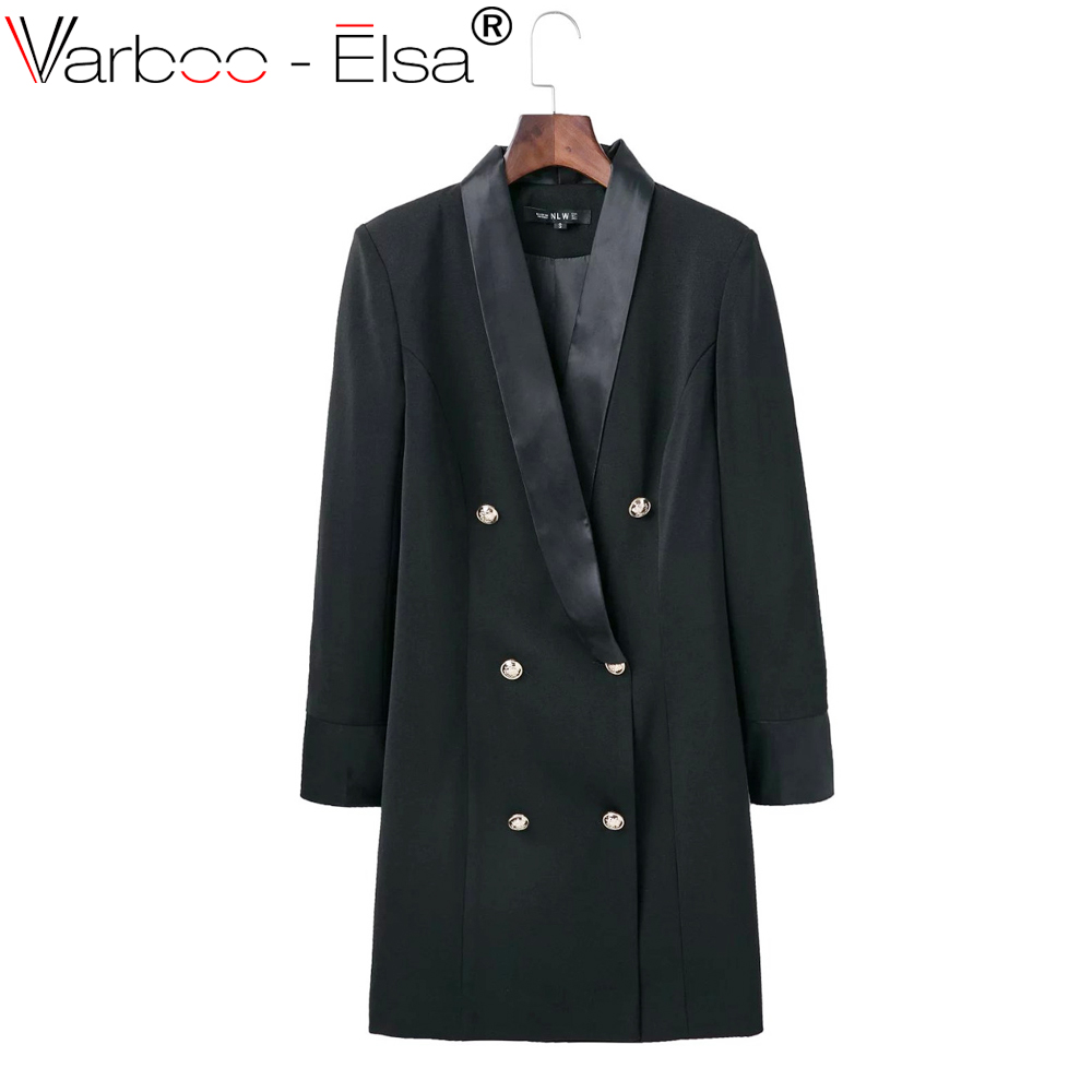 f983b5cdd637 VARBOO ELSA women blazer OL double breasted long suit blazer femme Autumn  cool slim black white ladies blazer casual coat jacket