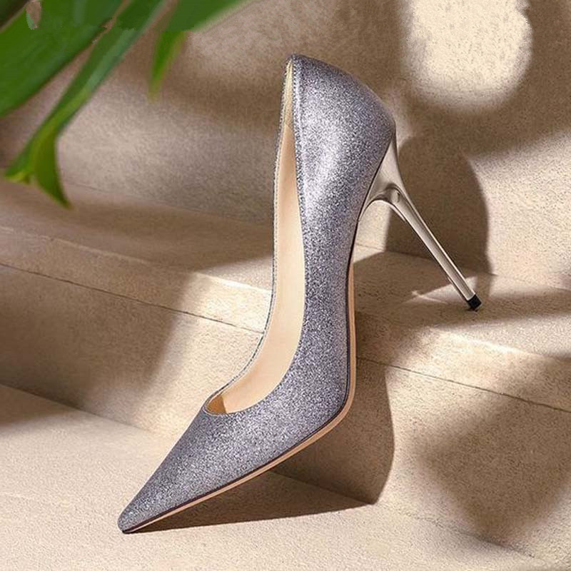 Spring Autumn New Arrival Classic Style Pointed Toe Slip On Thin Heel Women Pumps Bling Wedding Party Lady Shoes Bride Shoes new arrival spring and autumn red party shoes peacock woman wedding pumps thin heel sexy night pub shoes