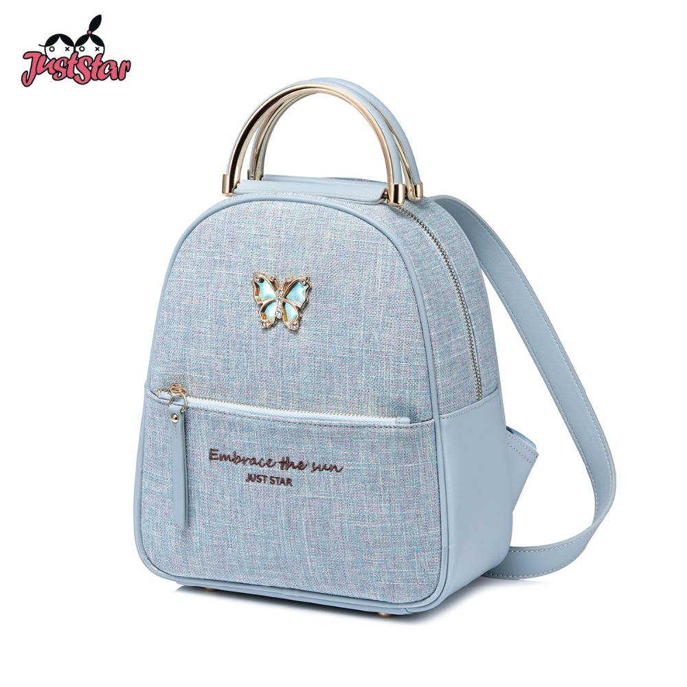 JUST STAR Brand Women s PU Leather Backpack Female Butterfly Double Shoulder Bags Ladies Blue Color