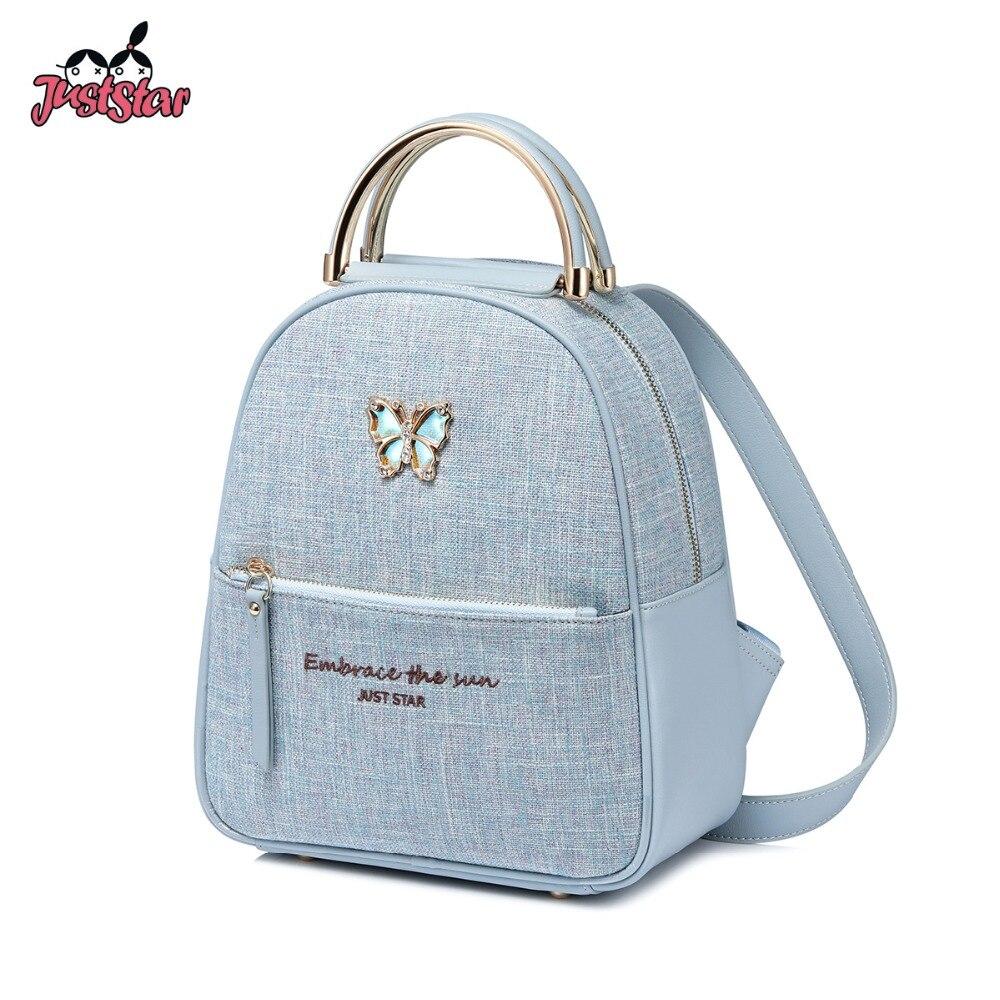 Sólo marca estrella de la PU de las mujeres de Mochila De Cuero mariposa hembra doble hombro bolsas de damas de Color azul diario mochila de viaje-in Mochilas from Maletas y bolsas    1