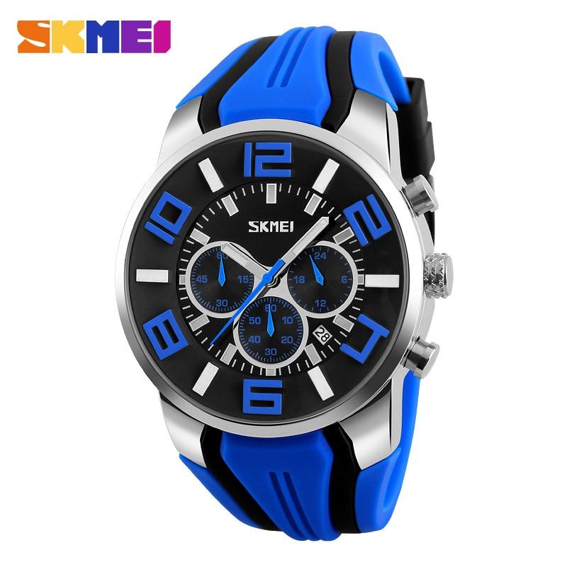 Six Pin Stopwatch Chronograph Sports Watches Men Waterproof Silicone Quartz Watch SKMEI Brand Fashion Casual Mens Wristwatches
