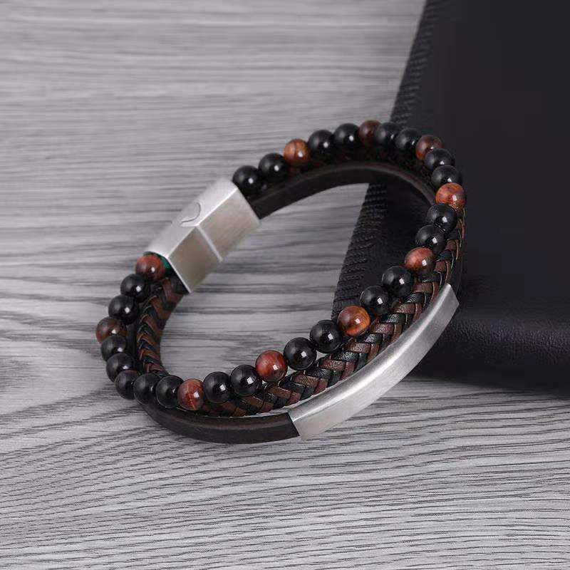2019 New Arrived Fashion Women Beads Bracelet Tigers Eye Natural Stone Beads Stainless Steel Buckle Parts Real Leather Bangle2019 New Arrived Fashion Women Beads Bracelet Tigers Eye Natural Stone Beads Stainless Steel Buckle Parts Real Leather Bangle