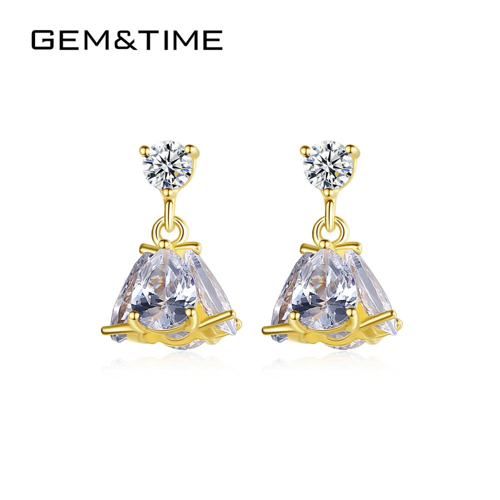 Gem&Time New Solid 14K Gold Drop Earrings for Women Gold Fine Jewelry Big CZ Brincos Bijoux Femme Au585 Yellow Gold Gift E14060
