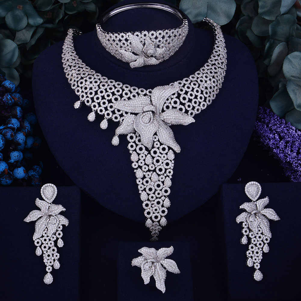 GODKI Luxury Starfish Women Nigerian Wedding Naija Bride Cubic Zirconia Necklace Dubai 4PCS Jewelry Set Jewellery Addiction