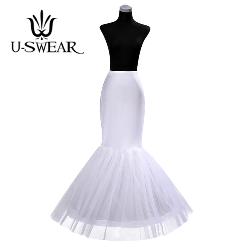 U-SWEAR 2018 Hot Sale White Black Yarn Bridal Petticoats Tight Hips Ruffle Mesh Long Line Underskirt For Wedding Dress