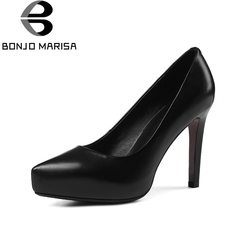 BONJOMARISA 2018 Spring Autumn Concise Genuine Leather Women Pumps Lady Super High Heels Ol Shoes Woman slip-on Shallow Footwear xiaying smile woman pumps british shoes women thin heels style spring autumn fashion office lady slip on shallow women shoes