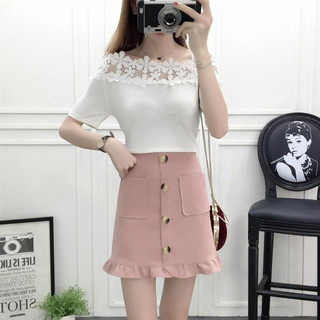 bb89f94da US $32.3 19% OFF|new spring and summer korean fashion lady suit short  sleeve knit top lace flower sweater button pocket skirts two piece  outfit-in ...