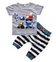 2016 Hot Sale Baby Boys Summer Casual Clothing Set Children Boys Truck Shirt Pants 2 Pcs