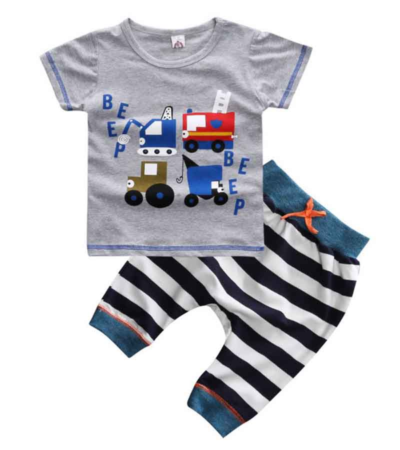 2018 hot sale baby boys summer casual clothing set children boys truck shirt + pants 2 pcs Children clothes sets YAA064