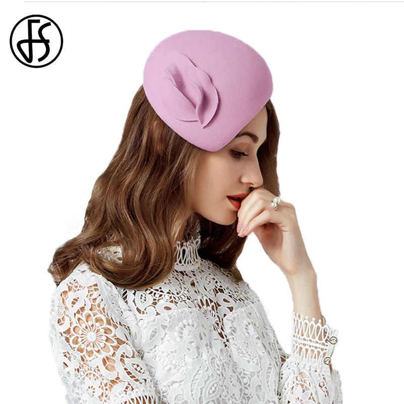 e3950d28c36 ... FS Fascinator Hats For Women Elegant Wool Felt Black Pink Lady Female  Pillbox Hat Vintage Church ...