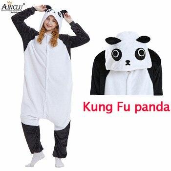 Flanella Adulto Kung Fu Panda Pijama Con Le Scarpe per le donne Homewear Unisex Kung Fu Panda Cosplay Morbida e confortevole Indumenti Da Notte Onsie