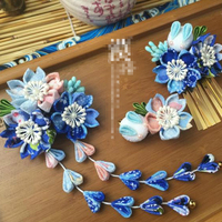 Pink And Blue Color Kimono Style Hairpin Cosplay Hair Piece Headwear Hair Accessories Japan Classical Flower Headdress