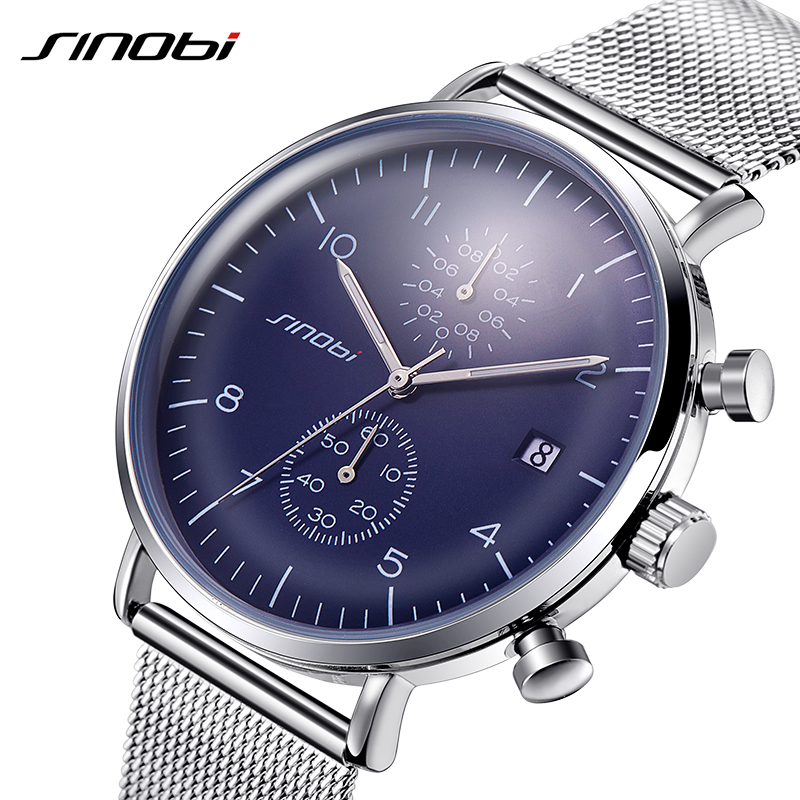SINOBI Mens Watches Top Brand Luxury Stainless Steel Mesh Strap Sport  Quartz Watch Men 2017 Luminous Pointer Waterproof Clock replacement repair partshigh quality lcd for asus transformer pad tf101 touch screen digitizer assembly