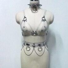 100% Handmade Punk Harness Cute Kawaii Bra Top Clear PVC Vinyl Spiked Choker Spikes Collar Chain Links Waist Belt Bondage Straps