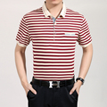 Высокое качество топ-новая мода мужская лето с коротким рукавом полосы хлопка рубашки поло