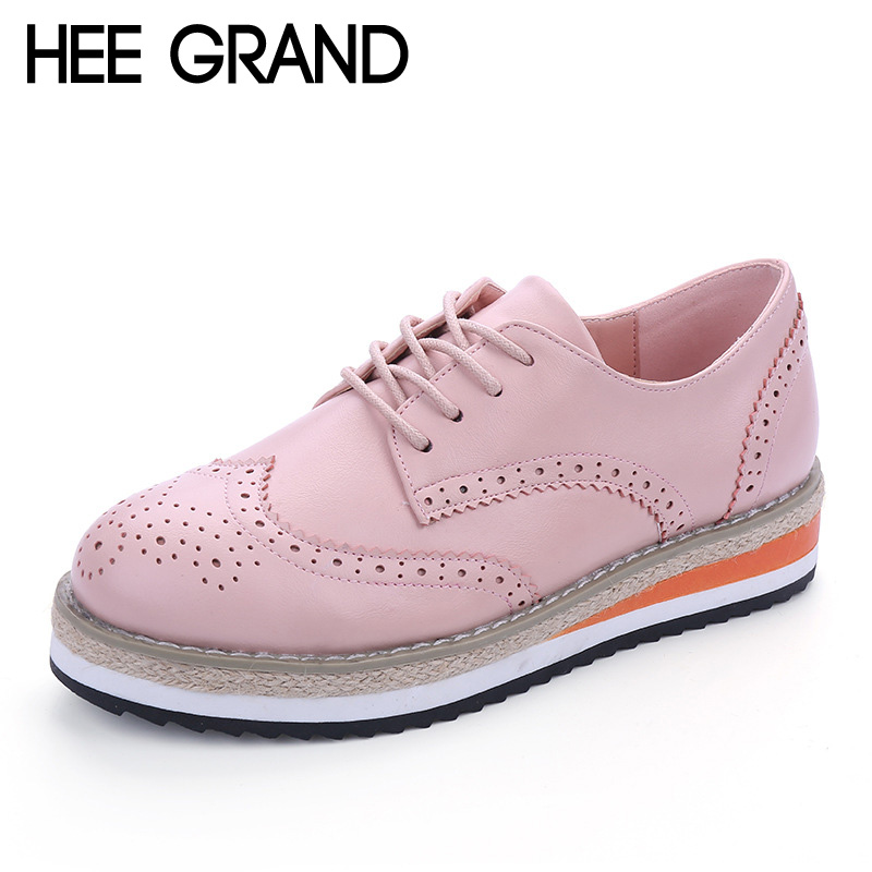 HEE GRAND Brogue Shoes Woman Candy Colors Platform Oxfords British Style Creepers Cut-Outs Flat Casual Women Shoes XWD4233 ladies casual platform wedges oxford shoes for women metallic pu cut outs women high heels summer brogue oxfords shoes woman