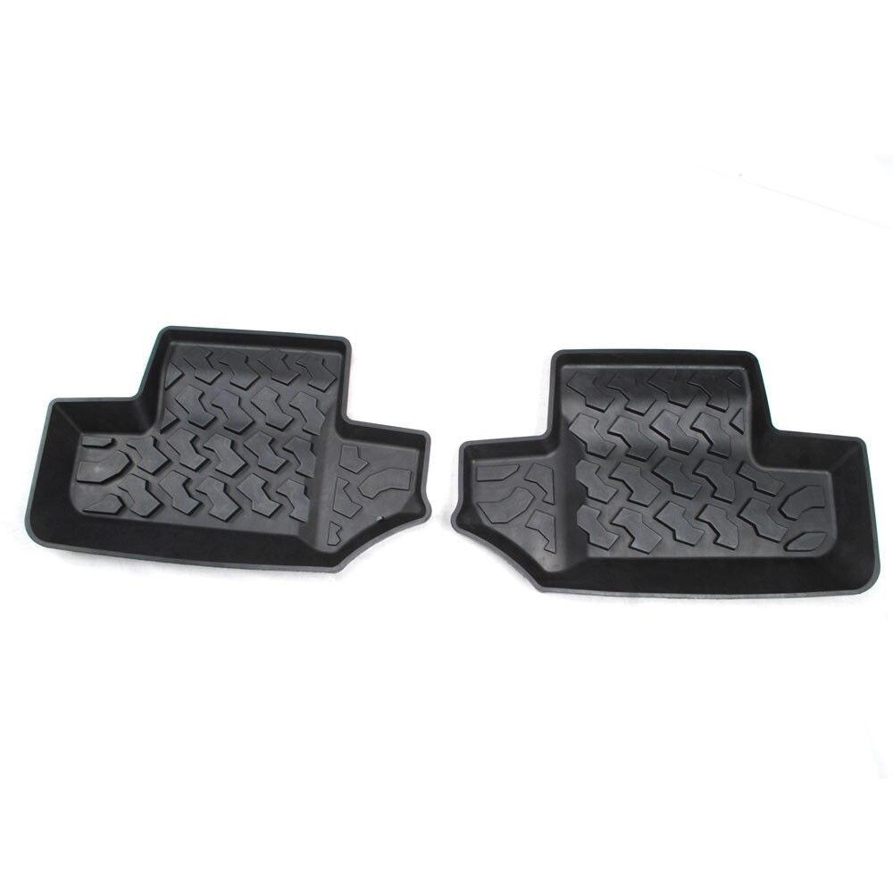 BBQ @ FUKA nouveaux accessoires de style de voiture 1 paire Blk caoutchouc arrière rangée tapis de sol tapis de revêtement pour 2 portes Jeep Wrangler JK 2007-2015
