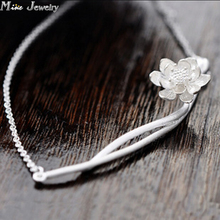 Drop Delivery 925 Sterling Silver Necklaces Excessive Craft Lotus Flower Silver Necklace Pendants&Necklaces Jewellery Collar Colar