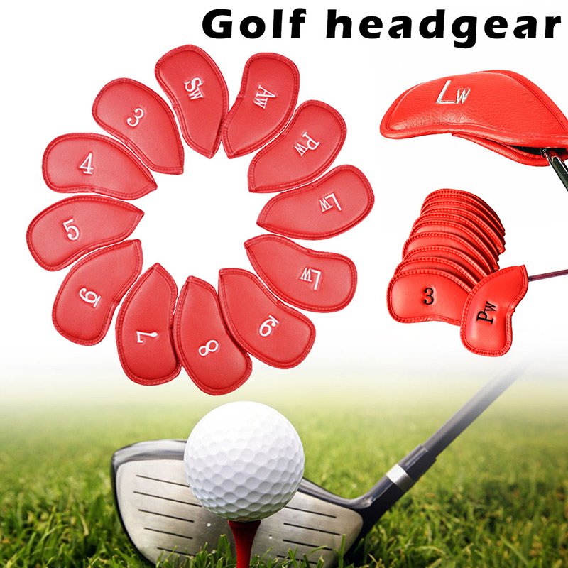 12Pcs Golf Iron Head Cover Set Universal Iron Covers With Embroidery Numbers FI-19ING