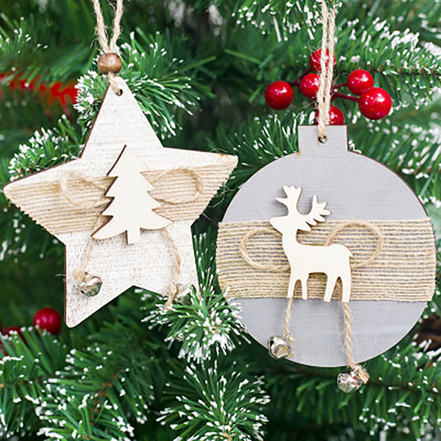 Us 2 64 28 Off 2pcs Wooden Christmas Pendants Snowflake Wood Embellishments Rustic Christmas Tree Hanging Ornament Decor 2o8105 In Pendant Drop