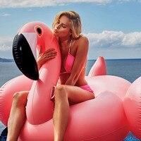 Promo 150CM 60 pulgadas flamenco inflable gigante Piscina flotador Rosa Ride-On natación anillo adultos niños agua vacaciones fiesta juguetes Piscina