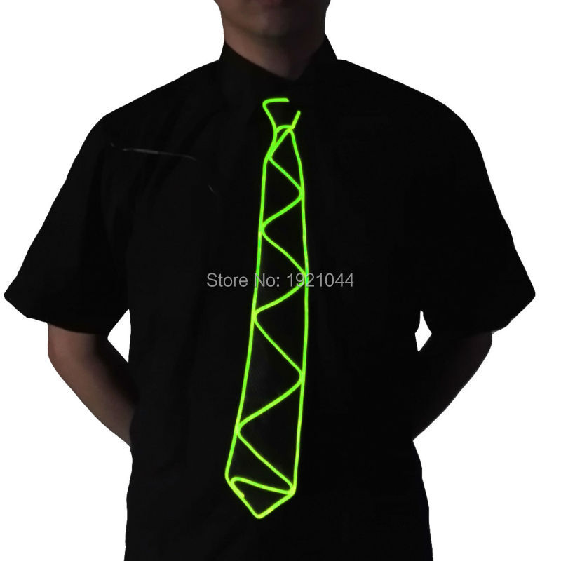 Blinking Lighting Color Lemon green EL Wire LED Neon Light Flashing Necktie for Men Night Club Event Party Decoration
