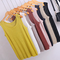 2017 Knitting Vest Summer Wear Solid Color Flax Knitted Tank Tops For Women