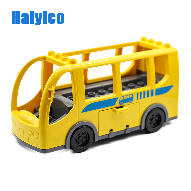 Big Particles Bricks City Bus Car Model Building Blocks Compatible Duplo Vehicle sets Figure Accessory Educational Kid Gift Toys big building blocks castle pirate arms armor war cannon model accessories bricks compatible with duplo set figure toy child gift