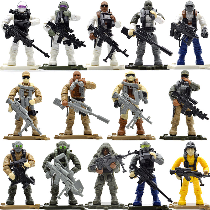 Set Game Army Soldiers Duty Military Series with Weapons Call Telescope Building Blocks Bricks Toys for Children image