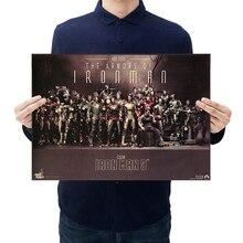 Классический Марвел герой Железный человек коллекция винтажная крафт-бумага фильм плакат домашний Декор стикер стены 51x36 см декоративные картины