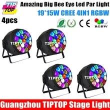 Freeshipping 4 Упак. Big B Глаз Свет Увеличение Номинальной Света Новый Дизайн 19×15 Вт высокая мощность RGBW 4 в 1 LED Полный Цветной ЖК-Дисплей Led Par может