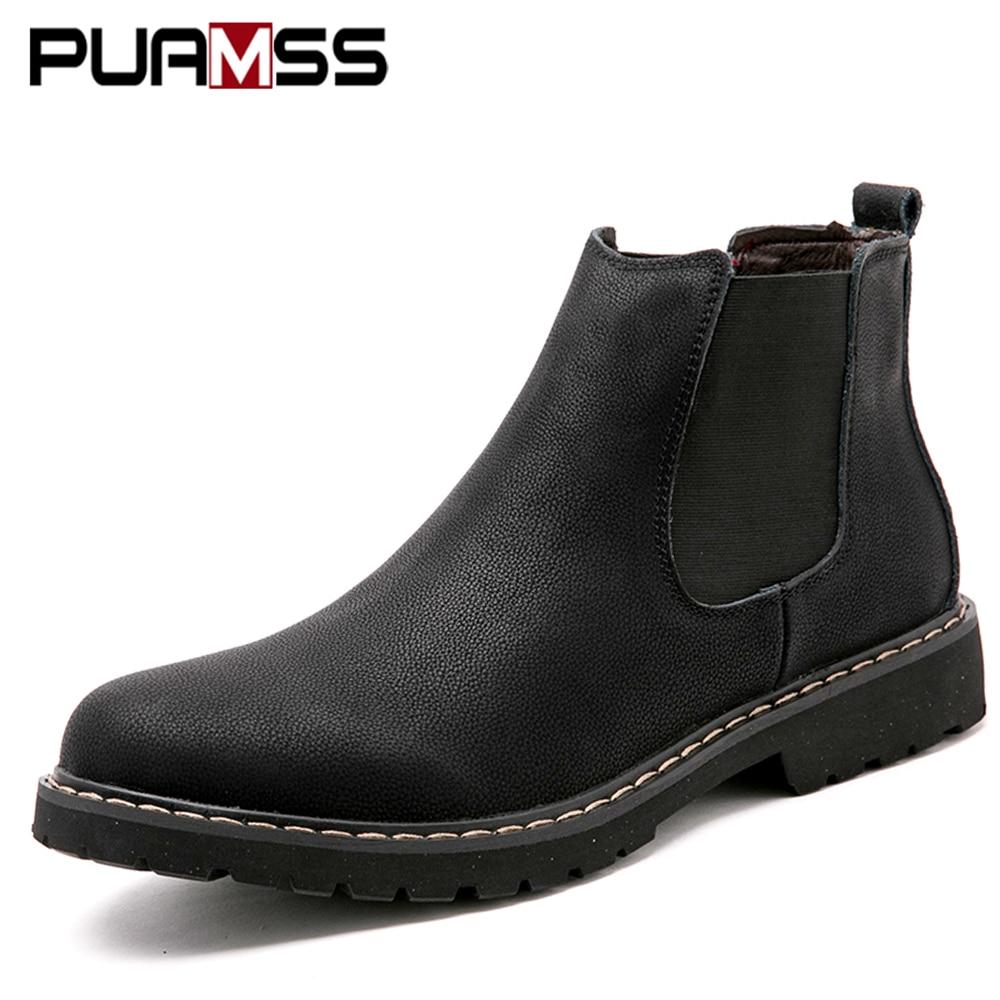 Homens Sapatos Botas 2018 Novo Inverno Masculino Botas Chelsea para Homens Ankle Boots de Couro Homem Sapato Bot Sapatinho Calçado Ao Ar Livre plus Size