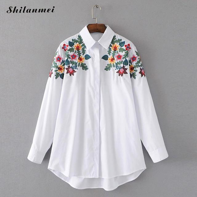 Sunshine&rainy spring sweet female pure Branches embroidery shirt women  mandarin collar pocket design office women white shirt-in Blouses & Shirts  from ...