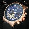 FORSINING Top Marke Luxus Outdoor Sport Tourbillon Auto Mechanische Uhr Männer Römischen Ziffern Blau Zifferblatt Rubber Strap Armbanduhr-in Mechanische Uhren aus Uhren bei