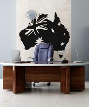ビニール壁デカールステッカーオーストラリア旗地図アートデコステッカーリビングルームのベッドルームの 2DT10